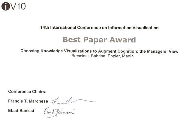 Iv 10 conference best paper award sabrina bresciani abstract yelopaper Gallery
